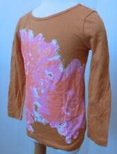CREWCUTS Girls Orange Glitter Flower Cotton Long Sleeve Knit T-Shirt Sz 3