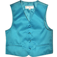 New Boy's Kid formal Tuxedo Vest Waistcoat only aqua blue size 2 4 6 8 10 12 14