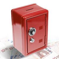 Spardose Tresor - rot, Sparbüchse, Massiver Mini Safe mit Schlüssel, 18 x 12 x 1