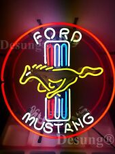 """New Ford Mustang Car Auto Neon Sign 19""""x19"""" with HD Vivid Printing Technology"""