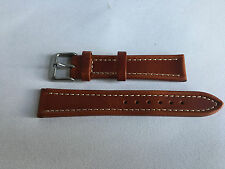 Genuine Leather 18mm Brown Watch Strap Band Gents Silver Buckle For Omega,Smiths