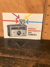 Vintage Camera Instruction Manual Kodak Instamatic 104 Camera Manual