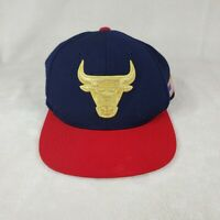 MITCHELL & NESS Chicago Bulls NBA USA 2 Tone Gold Logo Snapback Hat Navy/Red