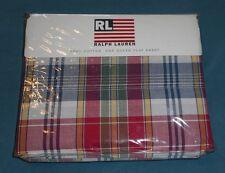 Rare NEW Ralph Lauren Sundeck Plaid Queen Flat Sheet Red Blue Green