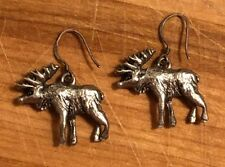 Ear Wires (see Photos With Stamp) Moose Earrings - Pewter with Sterling Silver