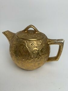 Vintage Mccoy Weeping Gold Teapot With Lid 24KT Gold AS IS lid Cracked