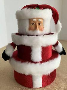 "Vintage 2001 GAC Stacking Nesting Boxes (3) Christmas RARE Carved Santa Face 8"""