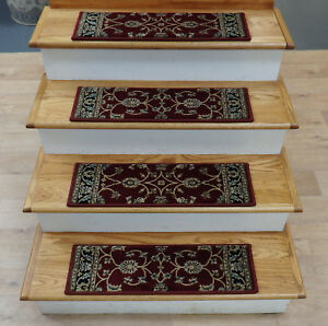 """Rug Depot 13 Traditional Non Slip Carpet Stair Treads 26"""" x 8"""" Red Stair Rugs"""