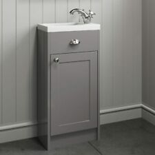 Traditional 400mm Grey Bathroom Vanity Unit Basin Sink Storage Cabinet Furniture