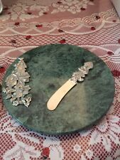 Lindsay Claire Bird Houses And  Knife  Fine Pewter on Green Marble Cheese Tray