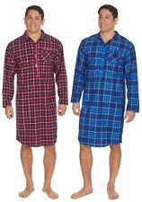 Mens Gents Warm Soft Thermal Flannel Blue Red Check Nightshirt Pyjama Nightie