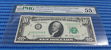 Error Offset Printing 1977 US$10 Federal Reserve Note New York PMG EPQ 55 AUNC