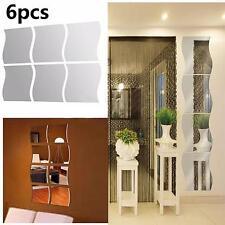 6pcs ola removible acrílico espejo pared de vinilo pegatinas casa decoracion OP