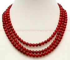 Fashion natural red coral jewelry handmade circular three layers necklace women