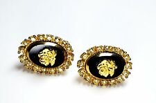 Celebrity signed Gold Rose & Black Onyx Glass Cameo Rhinestone Earrings