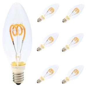 6x Dimmbar E14 LED Lampe Flexibel Spiral Filament Kerze Birne Klarglas 2200K