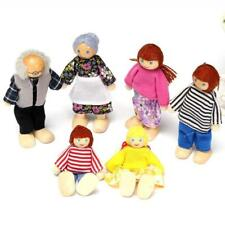 Wooden Furniture Dolls House Family Miniature 6 People Doll Toy For Kid Child