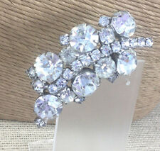Vintage Art deco Pin Rhinestone Crystal Quality Prong Set Sparkly Thick Brooch