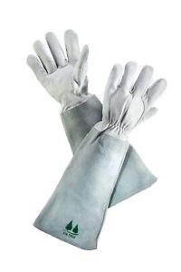 Leather Gardening Gloves by Fir Tree. Premium Goatskin Gloves With Cowhide Gaunt