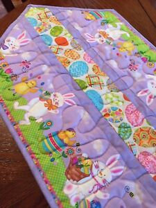 Handcrafted-Quilted Table Runner - Easter Bunnies, Chicks, Baskets & Easter Eggs
