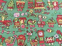 VTG CHRISTMAS WRAPPING PAPER GIFT WRAP NOS GORGEOUS CANDY CANE TRAIN