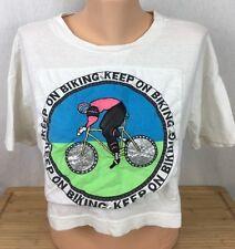 USED Womens One Size Susan Anton Body Gitano Keep On Biking Crop Top White Shirt