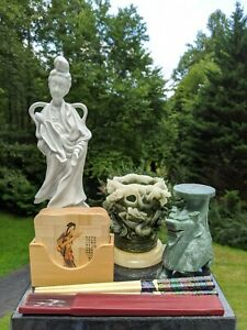 Lot 7 Chinese/Asian Items: Porcelain Guanyin, Resin Dragon Cup, Marble Foo Dog +
