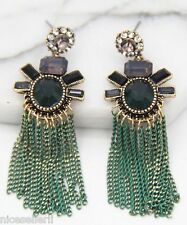 BOHO Fashion Green Crystal Ear Drop Dangle Stud long Ancient Silver Earrings 273