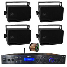 Home Amplified Bluetooth MP3 Receiver, 4x 3.5'' Black Speaker, 16-G 50 Ft Wire