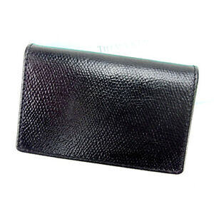 Tiffany & Co Card Case Black Woman Authentic Used Y1417