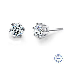 925 Sterling Silver earring CZ Cubic Zirconia clear crystal DLE02