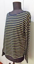 Immaculate Size S David Lawrence Navy Blue & Yellow Striped Top- 56cm Bust