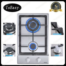 """12"""" 2 Burners Gas Cooktop Stainless Steel Built-in Lpg Ng Hob Silver Cooker 120V"""