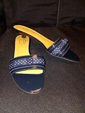 LN/WO~ Talbots ~9.5B Med~ Navy Blue Patent Lea/Polka Dot KITTEN HEEL SANDALS