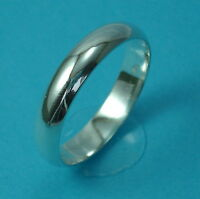New Solid 925 Sterling Silver 4mm Wedding/Band/Thumb Ring/ D Shape Various Sizes