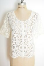 vintage 90s top sheer white lace scalloped crochet blouse shirt button up M