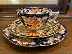 Antique 1890s Victorian English Chinoiserie Pattern Shelley Wileman Tea Cup Trio