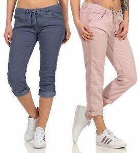 Damen Capri Hose Jeanshose Damenhose Boyfriend Caprihose Fresh Made LFM-162