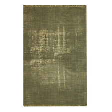 4' X 6' Rug in Olive Green Distressed Pattern Printed on Cotton 'Dhurrie'