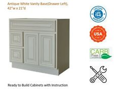 """Antique White Vanity Base Cabinet(Drawers Left) 42""""W x 21""""D x 34 1/2""""H"""