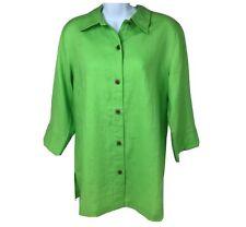 Chico's Sanibel Nayali Shallot Top Sz 1 (Small 8) 100% Linen Green Lagenlook