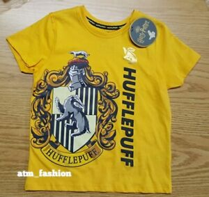 Harry Potter Hufflepuff  Cotton T-Shirt Tee Top Girls Kids Primark Summer 4-15YR