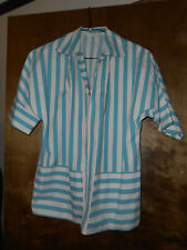 Vntg 1960s Striped Womens Hospital Volunteer Candystriper Lab Coat Bowling Shirt