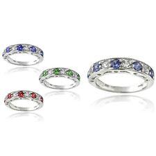 Sterling Silver 1.25ct Half-Eternity Band Ring - 4 Colors