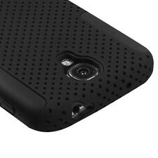 For Samsung Galaxy S4 MESH Hybrid Rubber Silicone Skin Case Phone Cover Black