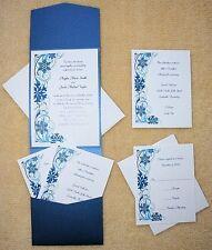 100 Personalized Custom Snowflake Pocket Bridal Wedding Invitations Set