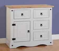 Seconique Corona Grey 1 Door 4 Drawer Sideboard Unit - Waxed Pine Top