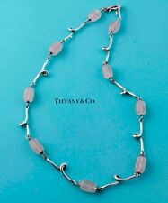 """Pretty Tiffany & Co Rose Quartz Silver Wire 18"""" Necklace, can use as a bracelet"""