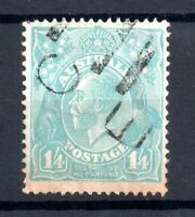 Australia KGV 1926-30 1s 4d turquoise fine used SG107 WS20601
