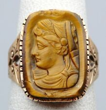 VICTORIAN Solid 14k Yellow Gold / Carved Tiger's Eye Cameo Ladies Ring Size 5.5